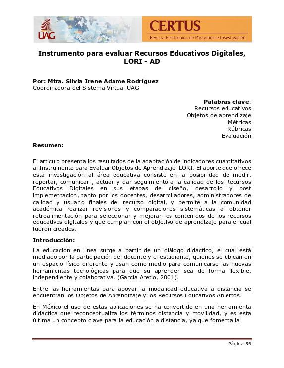 Instrumento para evaluar Recursos Educativos Digitales, LORI - AD